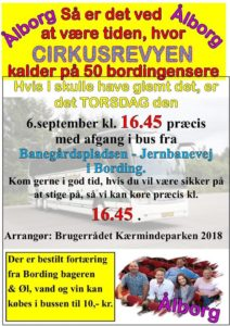 Tur til Cirkusrevyen, Aalborg @ fra Banegårdspladsen Jernbanevej Bording